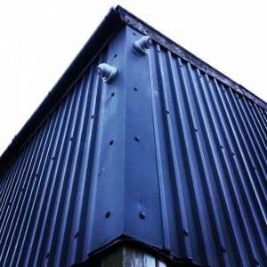Shipping container with two CCTV cameras fixed to it
