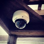 Hikvision camera fixed to wooden beam